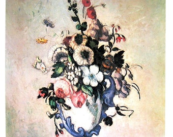 French Impressionist Art - Paul Cezanne - Flowers in a Rococo Vase - 1977 Large Poster Sized Print 12 x 15