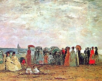 Bathers on the Trouville Beach - Eugene Boudin - Masterpiece Painting - 1966 Vintage Print Reproduction - 12 x 15