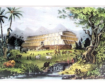Noah's Ark - Small Currier and Ives Print - 1980 Vintage Book Page