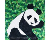 Panda quilt block pattern, paper pieced quilt patterns instant download PDF, panda quilt patterns, animal patterns, animal quilt patterns