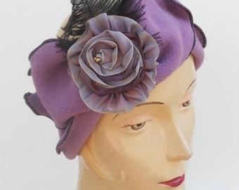 Polar Fleece Flapper Headband - French Ribbon rose - Madeline - Lilac