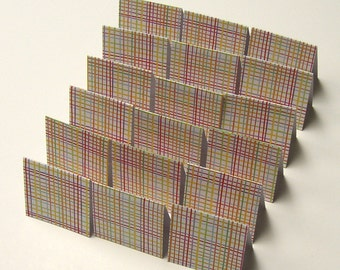 18 Mini Cards - blank for thank you notes - rainbow plaid