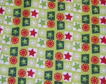 Christmas snowflake stars fabric - 7/8 yard - red green