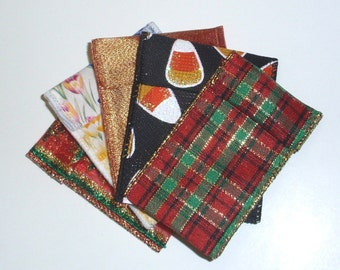 Jewelry Bead Pouches - 10 Fall Christmas Assortment Pack - ribbon