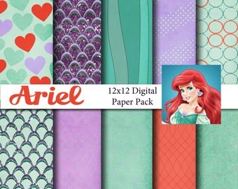 Disney Little Mermaid Ariel Inspired 12x12 Digital Paper Pack for Digital Scrapbooking, Party Supplies, etc -INSTANT DOWNLOAD -