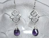 Amethyst Earrings, Dangle Earrings, Wire wrapped, Teardrop Earrings, Sterling Silver, Gemstone Earrings, Drop,Chandelier