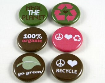 6 One Inch Eco, Recycle Green, Earth Day Button- , Flair, Hollow Back, Flat Back Button Set #1