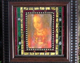 Mixed Media Mosaic Art Medieval Girl Portrait Art Original