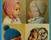 Vintage Baby's/Childrens Bonnets and Hats, Knitting Pattern, 1960 (PDF) Pattern, Patons 1238
