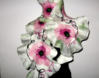 Felted Scarf Poppy white Ruffle Nuno  Women  white pink gray