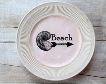 Sale - Pink Beach Sign - Seashell - Vintage Beach cottage - Shabby Beach - Coastal Decor - Nautical Wall Decor - 50% off