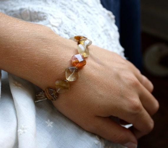 Pink Quartz Bracelet . Clear Crystal Bracelet . Crystal Bridal Bracelet . Art Deco Jewelry . Faceted Gemstone Bracelet - Annie Collection