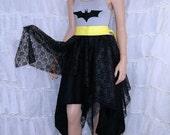 Dark Knight bat Silver and Black Summer Dress Cosplay Costume Adult Medium MTCoffinz- Ready to Ship