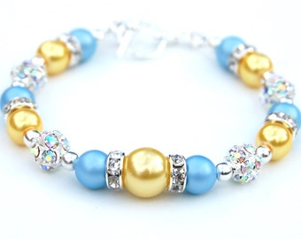 Sky Blue and Yellow Pearl Rhinestone Jewelry, Bridesmaid Bracelet, Summer Jewelry, Blue Yellow Wedding