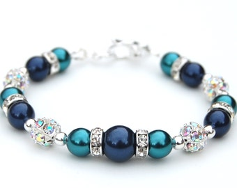 Navy and Teal Pearl Rhinestone Bracelet, Bridesmaid Jewelry, Navy Teal wedding, Summer Jewelry, Under 30, Bridesmaid Gifts