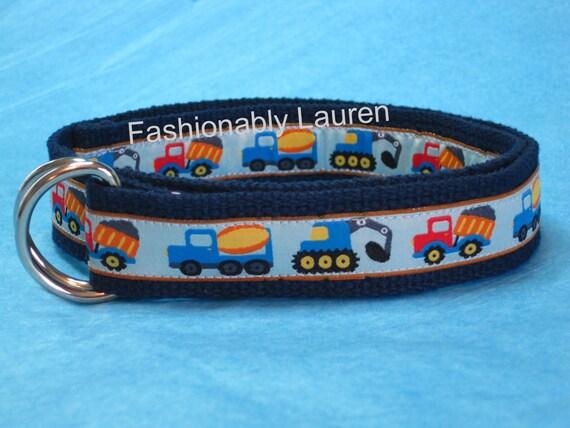Boys Ribbon Belt / Truck Toddler Belt / Blue Babies Belt / Canvas Belt / 1 inch Webbing Belt - Trucks Construction Zone