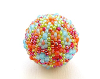 MADE TO ORDER Focal Beaded Bead, 30mm peyote stitched spherical bead in bright colours, lime, turquoise, red and orange