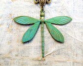 large Dragonfly necklace Patina necklace Patina jewelry Nature jewelry