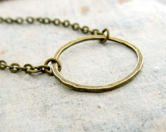 Circle necklace simple necklace brass jewelry gift under 15 dollars