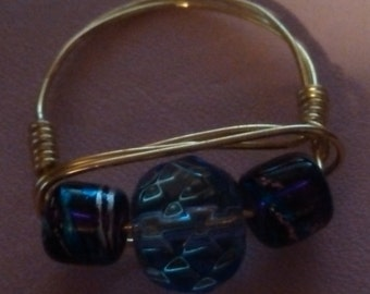 Blue glass  gold wire ring size 9