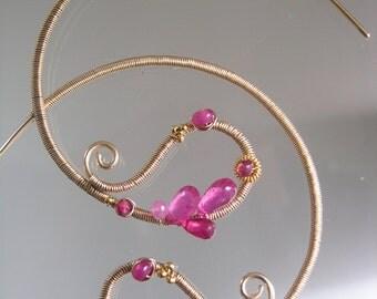 Pink Paisley Hoop Earrings, Ruby Hoops, Fuchsia Gold Earrings, Sculptural Gemstone Hoops, Tourmaline, Original Design, Made to Order