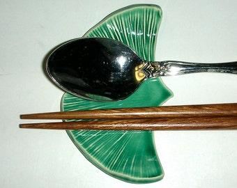 "Set of Five, Large Ceramic Handmade Chopstick/Spoon Rests,  3 5/8"" x 2 1/4"",  Ginkgo"