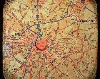 Map art print - marry me Charlotte North Carolina - candy heart custom engagement wedding anniversary gift wall decor