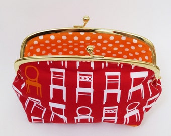 Cosmetic pouch - Red and white chair fabric