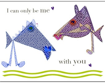 I can only be me with you horses greetings card