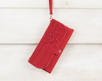 SmartPhone Purse 12x - Rosie MicroSuede Clutch with ID pocket and Wristlet Strap in Maroon -- Pick Your Fabric