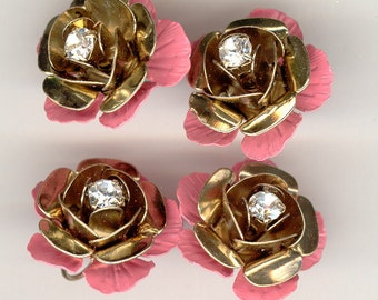 4 Double Stacked Enameled & Rhinestone Metal Flowers 3/4 Inch