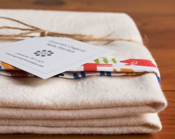 Organic Receiving Blanket, FARMYARD, Farm Animals, Tractors Organic Flannel Baby Gift; Colorful Pig, Cow, Horse, Chicken Newborn Gift