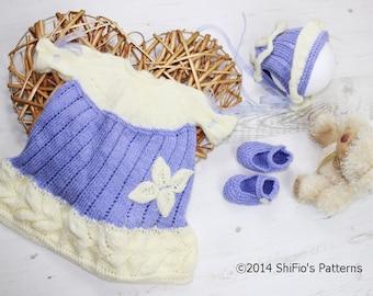 KNITTING PATTERN For Baby Thistle Dress, Bonnet & Slippers PDF 140 Digital Download