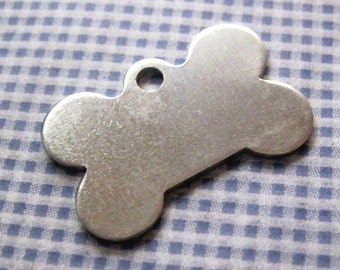"""Dog Bone Aluminum Blank Tags 1-1/8 x 3/4""""  thick (.050) with hole QTY 5"""