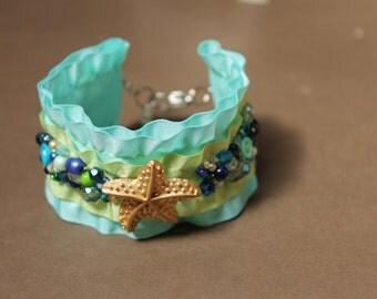 Ocean star fish sea foam beaded statement cuff bracelet FREE SHIPPING