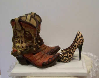 Rustic Wedding Cake Topper-Pair of Western Cowboy Boot with Leopard Print Stilettos-