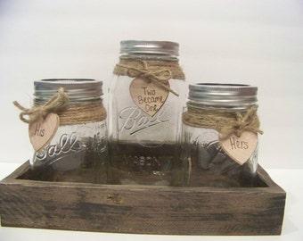 Sand Unity Set-His and Hers Unity Sand-Personalized Rustic Unity-Shabby Chic Unity Mason Jars