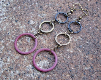 Eco-Friendly Dangle Earrings - Turning in Circles - Trios of Recycled Vintage Hoop Beads in Black, Brass and Dusty Pink