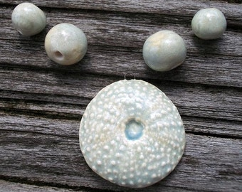 Ceramic Sea Urchin Pendant and Spacer Beads