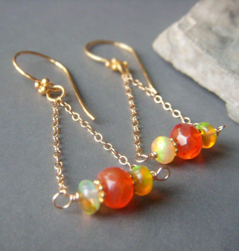 genuine opal earrings carnelian opal earrings triangle