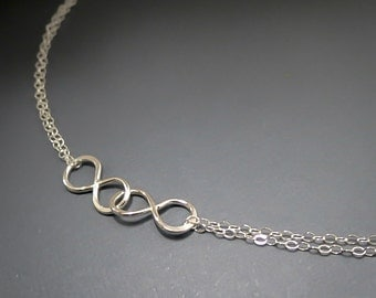 Mothers Infinity Necklace, Double Infinity, Two Infinity Pendants, Handmade Double Infinity Necklace, Sisters Necklace, Bridesmaids Jewelry