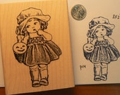 Vintage style rubber stamp little pumpkin girl P14
