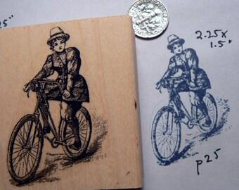 Victorian woman biking rubber stamp WM P25