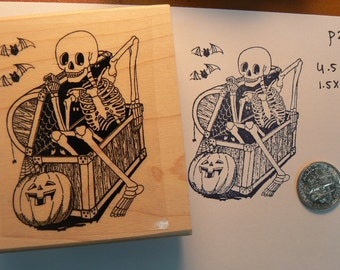 Halloween Skeleton in coffin  rubber stamp P25