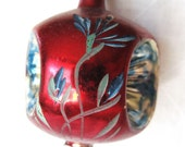 Vintage 1940's Rare Triple Indented Red Hand Painted Christmas Ornament