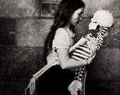 Black and White Portrait, Girl and Skeleton Photo, Surreal Portrait, Halloween Photo, Dark Art, Fine Art Photo