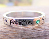 Mothers Ring - Personalized - Engraved - Childrens Name - Birthstone Stacking Ring - Custom Handcrafted Handmade by Helene's Dreams Jewelry