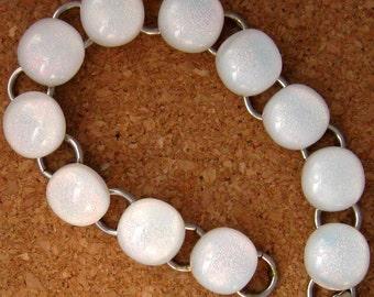 White Dichroic Bracelet Link Bracelet Glass Bracelet Fused Glass Bracelet