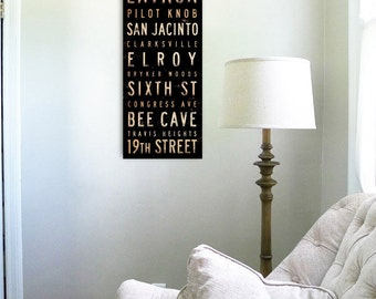 Austin Texas streets and neighborhoods typography graphic art on canvas 8 x 24 x 1.5 by stephen fowler