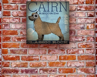 Cairn Terrier records album style graphic artwork on gallery wrapped canvas by stephen fowler